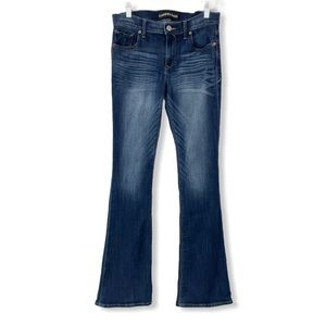 Express Slim Flare Jeans Blue Mid Rise Stretch 6
